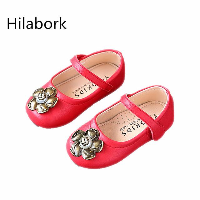 2017 nueva primavera de cuero retroinfants y niños pequeños cuadrados shoes chica princesa shoes antideslizante de cuero transpirable girl shoes