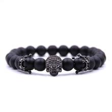 Trendy Natural Beads Bracelet Micro CZ Skeleton Skull Black Lava Rock Stone Energy Men Buddha Jewelry