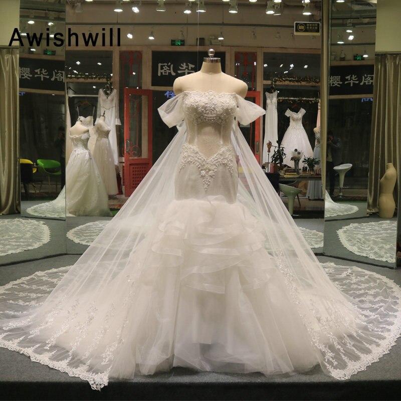 2019 Mermaid Wedding Dresses With Detachable Train Off The Shoulder Vestido De Noiva Lace Up Bride Bridal Dress Gown Princess