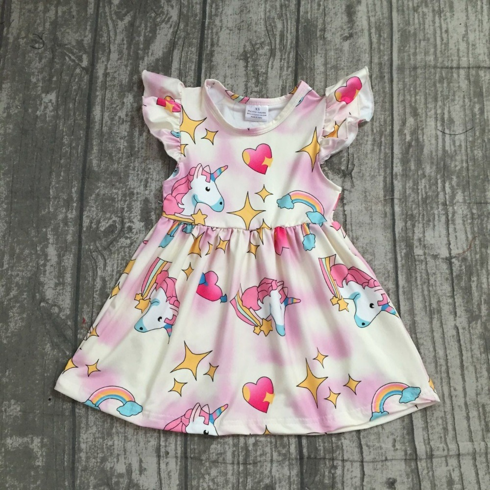 EXCLUSIVE new 2018 Summer dress rainbow unicorn star hreat short sleeve dress baby kids girls boutique maxi dress milk silk туника paola klingel цвет зеленый