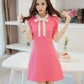 2016 Rose Red Bow Dress cute Spring Women Flounce sleeveless Dress Plus Size JN141