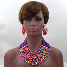 Amazing Pink Multicolor Wedding Beads Necklace Drop Earrings Set Purple Bridal Party Necklace Wedding Guests Free shipping WD134