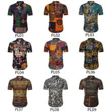 Polo collar Short sleeves Floral Mens Shirt Linen Social Shirts Men National style Blouse New