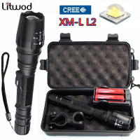 Z35 8000 Lumen CREE XM L L2 Zoomable Led Torch LED Flashlights Torch For 2 X