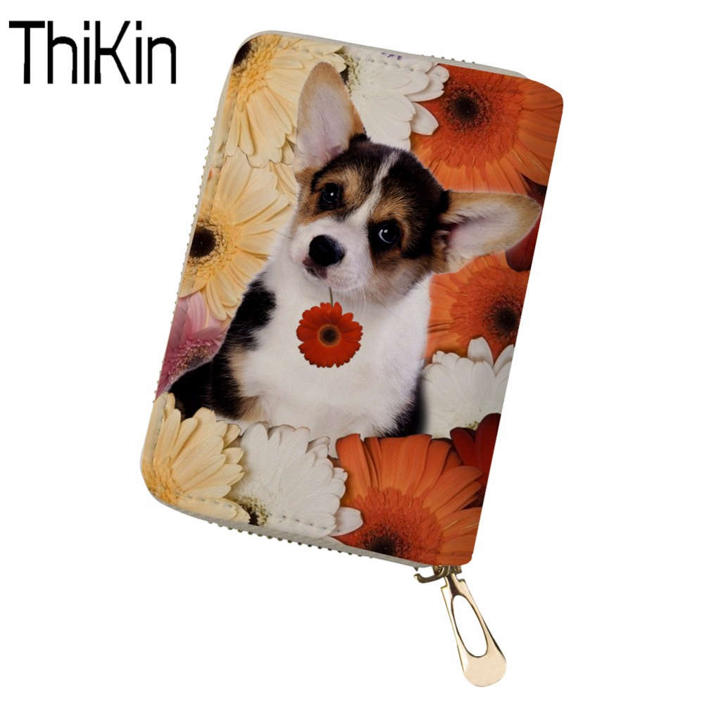Thikin Women Card Holder Corgi Dog Print Female Passport Cover Pu Leather Credit Card Holder Lady Girls Travel Purses& Wallets Coin Purses & Holders Card & Id Holders