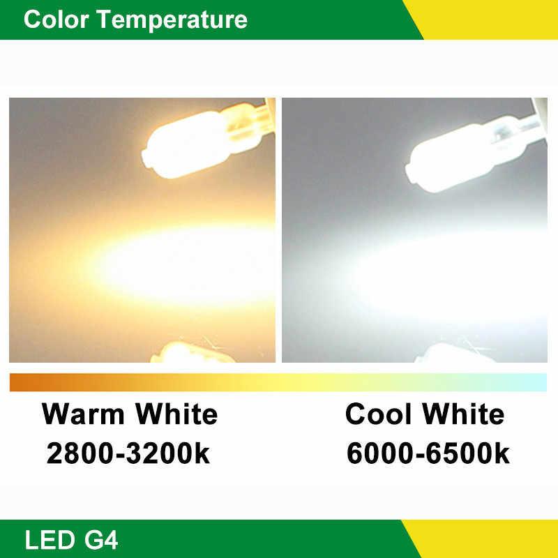 10 قطعة/الوحدة G4 LED مصباح 2 واط 3 واط لمبة ذرة التيار المتناوب 220 فولت تيار مستمر 12 فولت Lampada LED G4 SMD2835 واضح/غطاء لبني أضواء عالية مشرق الثريا