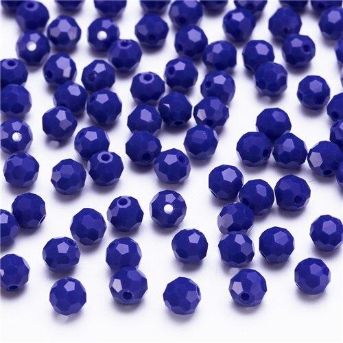 3, 4, 6, 8 мм разноцветные Круглые Стеклянные бусины для изготовления ювелирных изделий, аксессуары для рукоделия, Круглые граненые разделительные бусины, Z105 - Цвет: Z108 dark blue