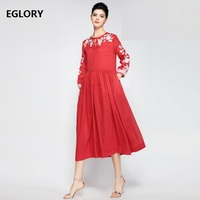 Dress Vestidos 2018 Spring Summer Elegant Party Woman Lux Embroidery Wrist Sleeve Pockets Casual Large Swing 50s 60s Dress Linen