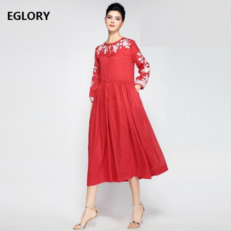 Robe Vestidos 2018 printemps été soirée élégante femme Lux broderie poignet manches poches décontracté grande balançoire 50 s 60 s robe lin