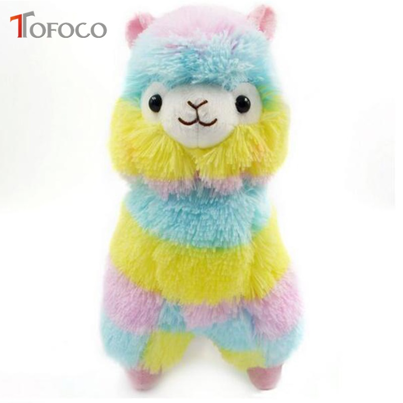 TOFOCO 1Pc 13/18Cm Rainbow Alpaca Plush Sheep Toys Japanese Soft Alpacasso Baby Stuffed Animals Alpaca Pendant Doll Toy Gifts welcome customer apron sheep alpaca maid servant plush toy stuffed doll gift for baby kids children girlfriend baby present