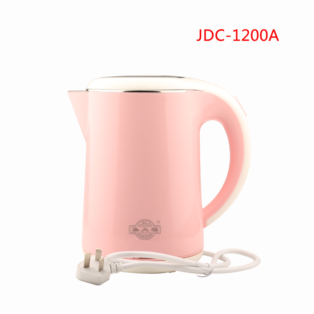 JDC-1200A 1.2L Safety Auto-Off Function Electric Kettle 304 Stainless Steel Quick Heating Kettles Pink