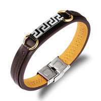 Supply sieraden groothandel Koreaanse mode-sieraden titanium staal Grote Muur patroon man lederen armband PH990