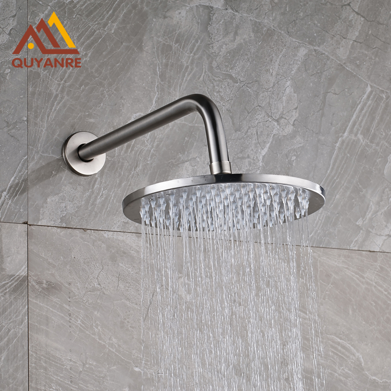 Wholesale and Retail Brushed Nickle Wall Mounted Shower Arm 16 Inch Headshower Round Head for Bath free shipping wall mounted brushed nickle led light showerhead with shower arm 8 10 12 inch