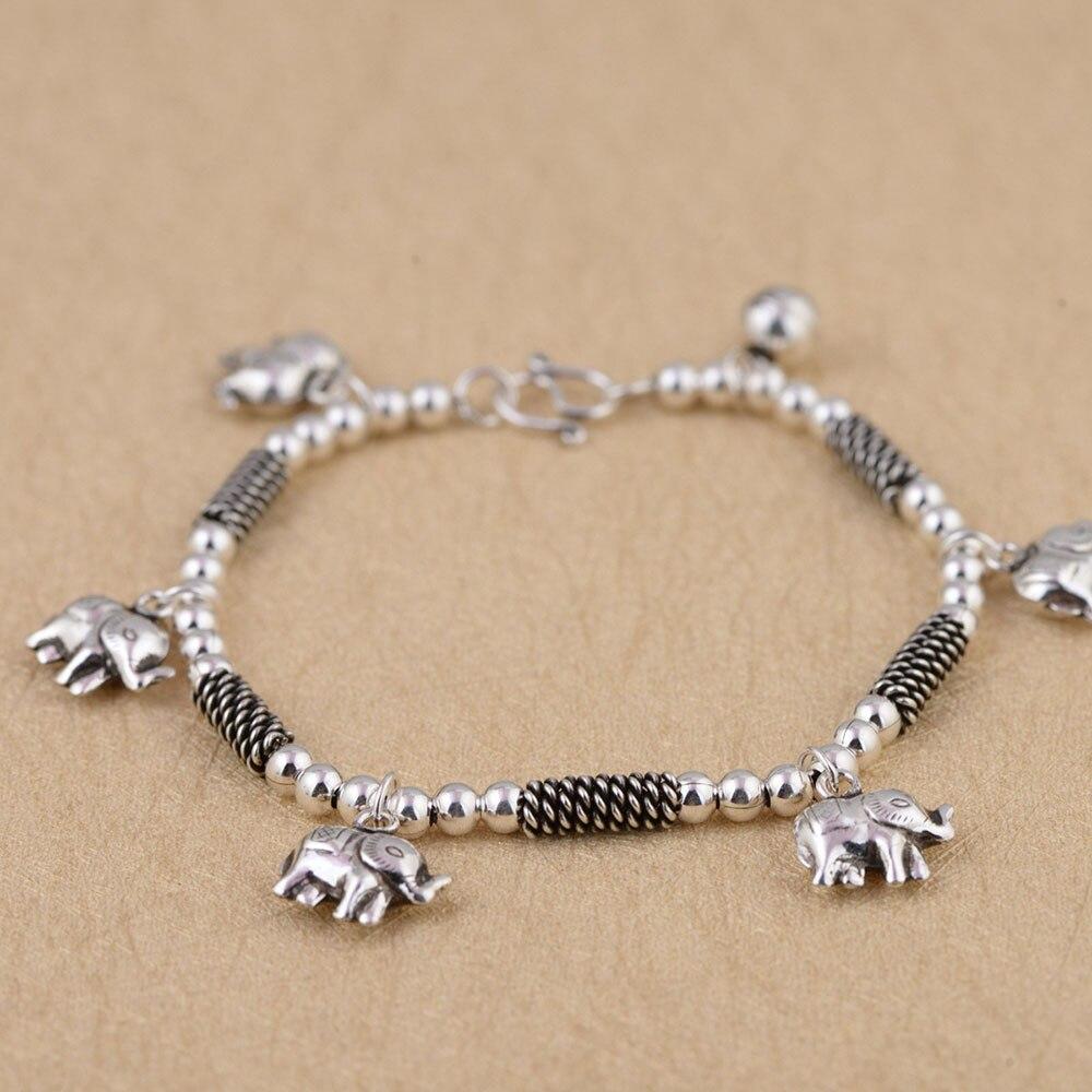 925 Silver Elephant Charm Bracelet 19cm
