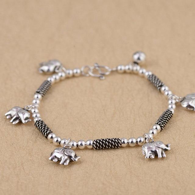925 Silver Elephant Charm Bracelet 19cm Chain Vintage 100 Original S925 Thai Bracelets For