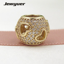 Tumbling Hearts Charms 14K solid gold love beads Fit 925 sterling silver bracelets DIY for women Jewyuer wholesale GD081