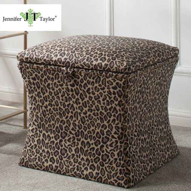 Jennifer Taylor Home Storage Ottoman Multicolored Hand Lied Nail Head Trim