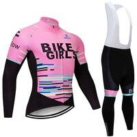 2018 Winter BIKE GIRLS thermal fleece Cycling JERSEY Bike Pants set women 9D pads Ropa Ciclismo Cycling wear Maillot Culotte