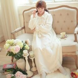 Winter Thicken Warm Flanel Vrouwelijke Nightgowns Lange Mouwen Dames Nachthemd Koninklijke Witte Kant Nachtkleding Plus Size 029