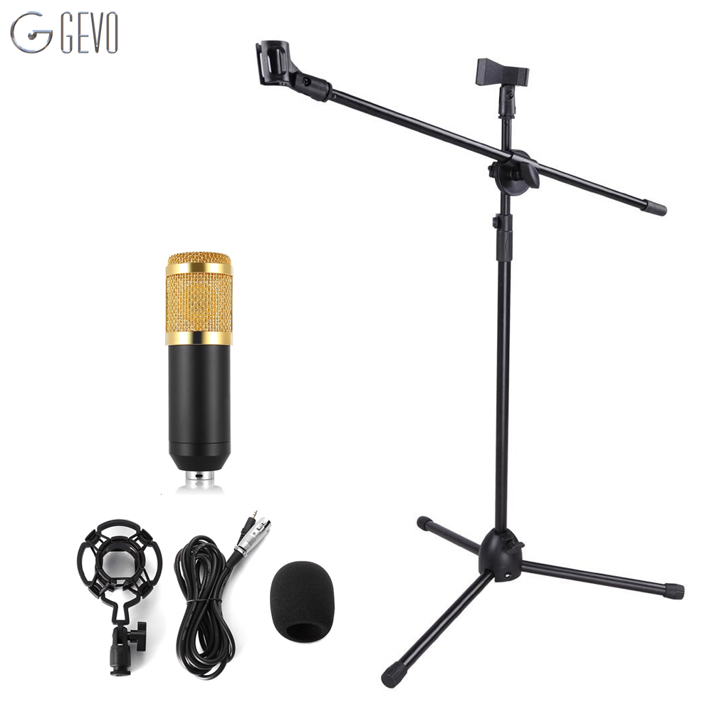 BM 800 Condenser Microphone Shock Mount With NB-107 Professional Adjustable Microphone Stand For Computer Studio Audio Recording professional condenser microphone bm 800 bm 800 cardioid pro audio studio vocal recording mic 48v phantom power usb sound card