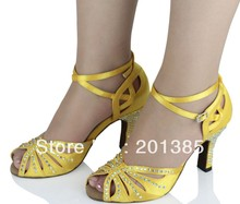 New Ladies Yellow Satin Crystal Ballroom Latin Samba Salsa Ceroc Tango Jive Line Dance Heels Shoes Size 34-41