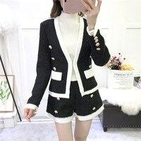 2018 New Fashion Autumn Winter Women Set Tweed Lurex Long Sleeve Blazer Outerwear Button Fly Shorts Pant Suit Sashes 2 Piece Set