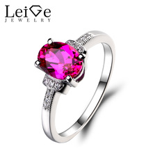 Leige Jewelry 925 Sterling Silver Lab Ruby Ring Oval Cut Gemstone July Birthstone Promise Engagement Rings Jewelry for Women