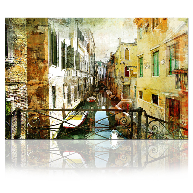 vintage architecture prints venice grand canal boat wall art canvas
