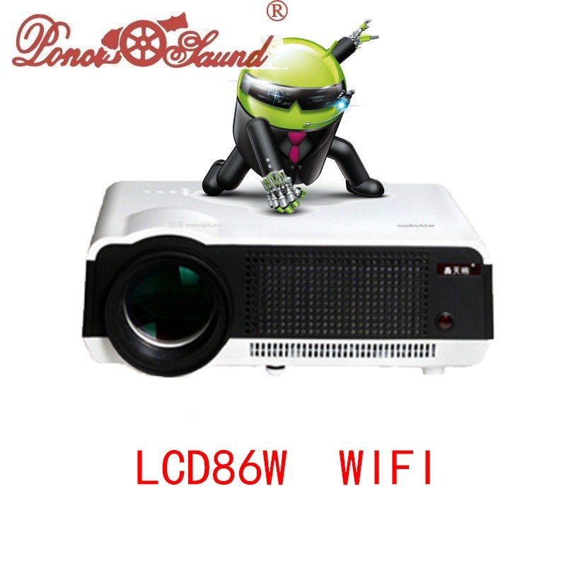 Hot Sale 2017 Newest Original 5500lumens Android 4 4 LCD Projector WiFi Bluetooth factory projector PK