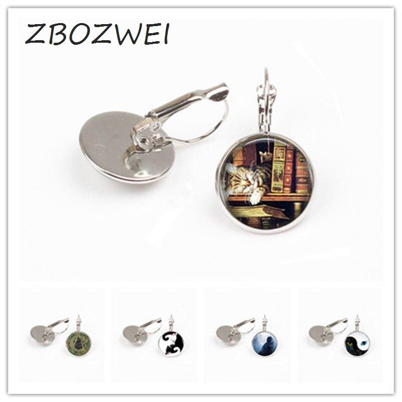 ZBOZWIE Wholesale Different Cat earring Yin Yang Cat earring Vintage Silver earring Statement earring Women Jewelry Men Gift