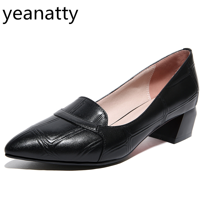 4cm vintage pumps casual Shoes Women spring autumn ladies genuine leather pointed Toe med Heels hoof heel Shoes Free shipping genuine leather handmade women shoes vintage spring and autumn women shoes flat shoes low top casual shoes free shipping