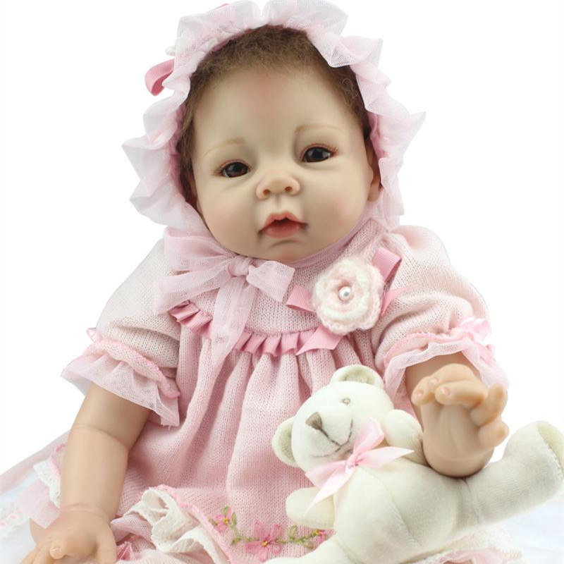Buy Realistic Newborn Baby Dolls 22 Inch 55cm Big Silicone Reborn Baby Dolls Kids Toys Accompany Partners Lifelike Baby Dolls