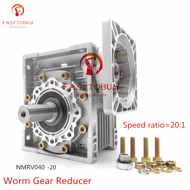 цена на New High Quality NMRV040 Worm Gear Reducer, Speed Ratio 20:1, RV40 Gearbox with Output Shaft for NEMA24/32/34/36 Stepper Motor