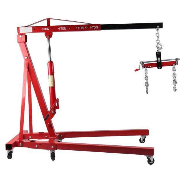 Engine Crane With Balancer 2T Folding Hydraulic Workshop Crane Mobile Car Lifting Tool Vehicle Repair Accessories 1
