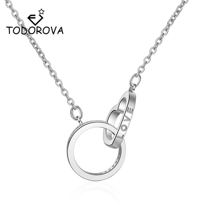 Todorova Double Circle Interlock CZ Cubic Zircon Necklaces for Women Jewelry Round Heart Infinity Pendant Necklace