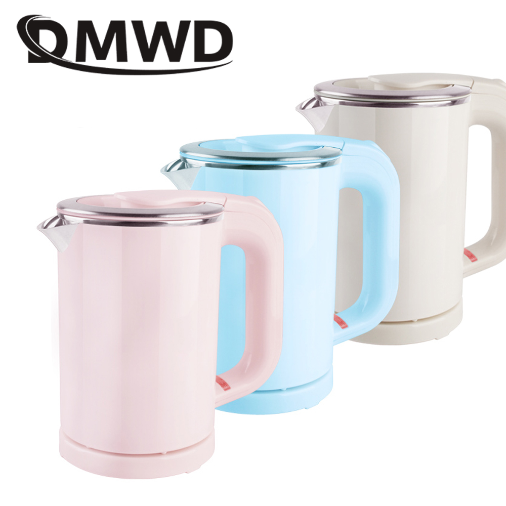 DMWD Dual Voltage Travel water Heating Kettle MINI Electric kettle cup heater Portable stainless steel tea pot boiler 110V-220V portable mini electric kettle water thermal heating boiler travel stainless steel tea pot coffee milk boiling cup 110v 220v