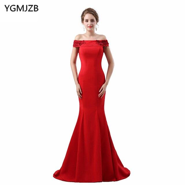 Elegant Red Evening Dresses Long 2018 Mermaid Beaded 3d Flower Boat ...