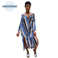 Colorful Striped Sexy Plus Size Dress Women Turn Down Collar Long Sleeve Dress Casual Buttons Up Side Split Loose Dress T Shirt