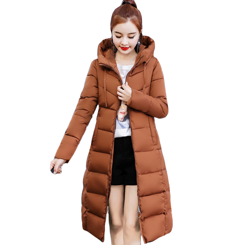 2019 Slim Women Winter Jacket Hooded Solid Cotton Padded Female Coat Outwear Long Ladies   Parka   Casaco Feminino