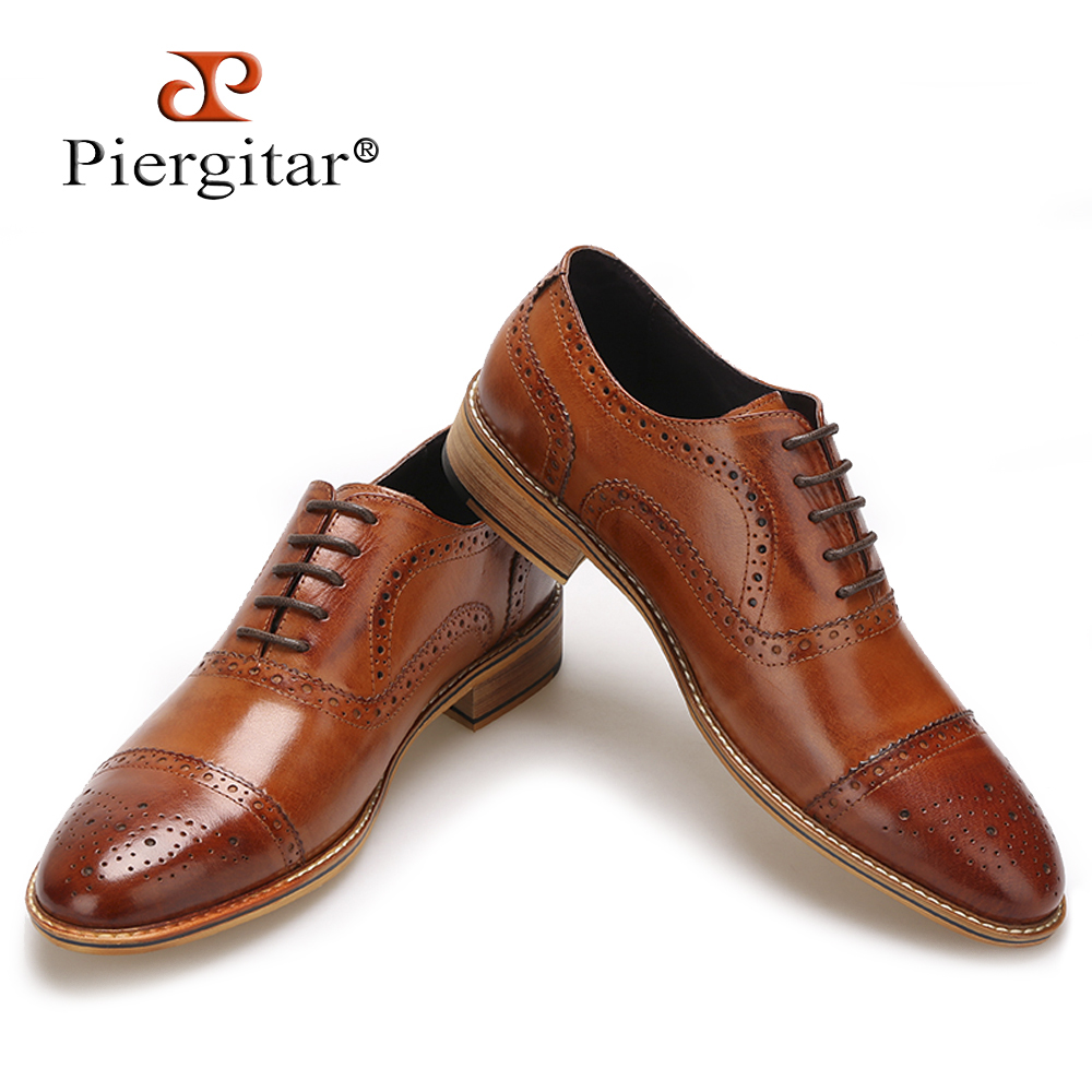 High Quality Men Oxfords Shoes British Style Carved Genuine Leather Shoe Brown Brogue Shoes Lace-Up Bullock Business Men's Flats omoikiri tovada 49 1 in