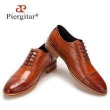 Alta Calidad Hombres Oxfords Zapatos de Estilo Británico Tallada Brogue Zapatos Con Cordones de Zapato De Cuero Genuino Marrón Bullock Hombres de Negocios de Pisos