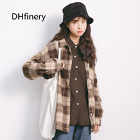 DHfinery Women blouse spring autumn small fresh plaid shirt women one size casual black and brown blusas Loose tops A870