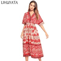 LIHUYATA 2018 Summer New Hot Sale Half Sleeve Ball Gown Beach Dress V Neck Chiffon Floral Print Fashion Long Dresses For Women