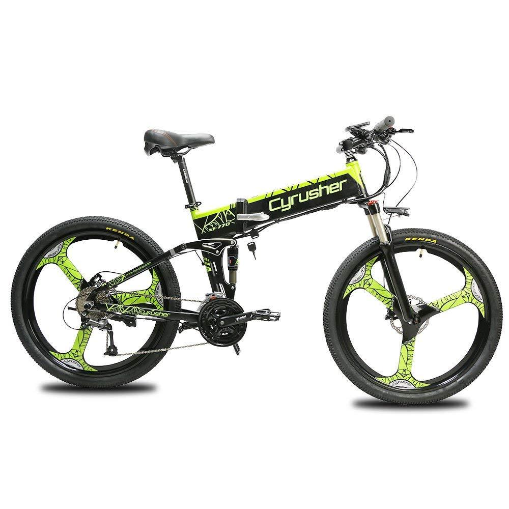 cyrusher xf770 folding electric bike 48v 500w full suspension three spokes disc brake with power