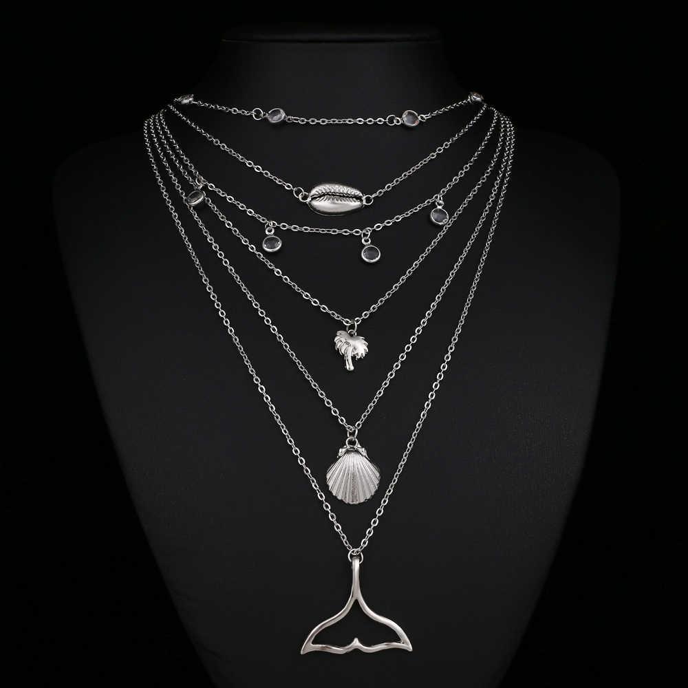 IPARAM Bohemia многослойное колье-цепь и подвески для женщин панк слон Лунная ракушка ожерелье модный воротник ювелирные изделия