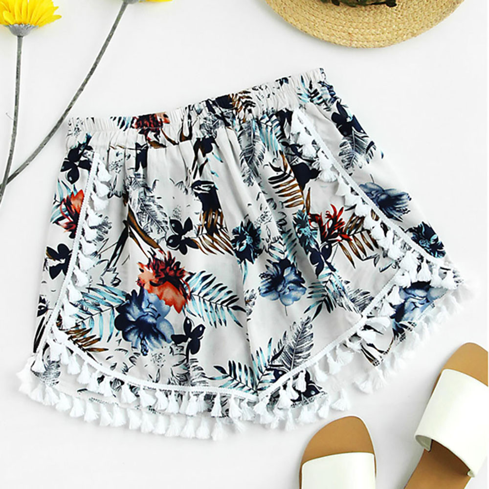 Womail Women   shorts   Print Mid Loose Waist Tassel Beach Boho Hot   Shorts     shorts   Trousers de deporte de cintura alta dropship j22