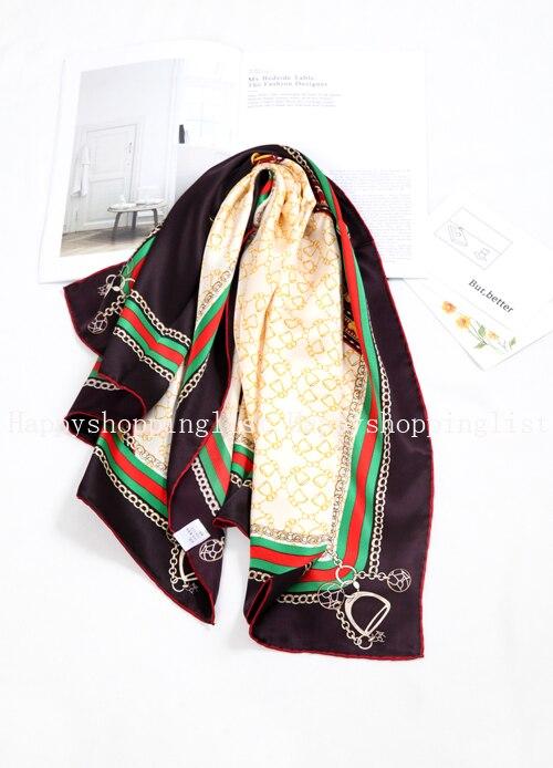 Elegante marca hecha a mano 100% crepe satén liso seda bufanda - 3