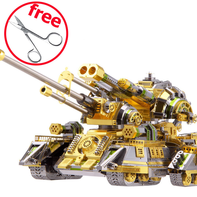 Piececool 3D Metal Puzzle Toy DIY Assembled Model Simulation Skynet Spider Superheavy Tank Puzzles Kids Toys Juguetes Gift children best gift fashion sex red color diy metal supper car assembled model toys