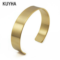 316L Stainless Steel Simple Classic Plain Round 18k Gold Plated Custom Logo Opened Cuff Bangle Bracelet