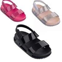 Anne ve Çocuk'ten Sandaletler'de Mini Melissa Çocuk Sandalet Kız Prenses Ayakkabı Çocuklar Düz Sandalet Bebek Kız Roma Ayakkabı 2018 Güzel Yaz Sandal Tarzı